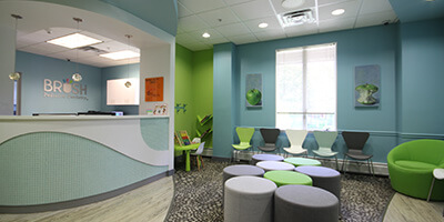 Welcoming modern dental waiting area