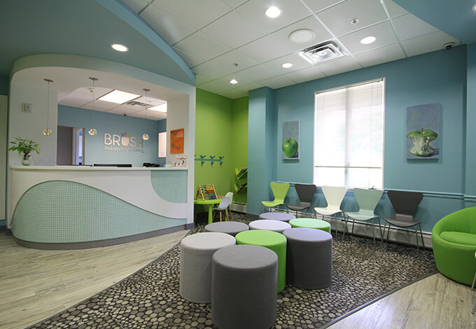 Welcoming patient waiting area and reception desk