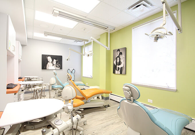 Row of dental treatment chairs